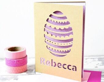 L'oeuf de Pâques personnalisé Glitter découper Pâques carte carte de Pâques de l'enfant - cadeau de Pâques de l'enfant - carte de Pâques - carte