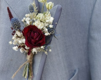 Rustic Winter Dried Flower Buttonhole