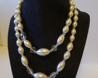 White and clear bead two strand necklace with silver accents 15""