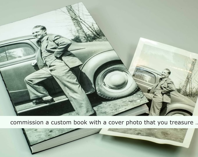 YOUR CUSTOM COVER handmade coptic bound blank book diary journal keepsake notebook with your personal artwork image photo | aBoBoBook 1897