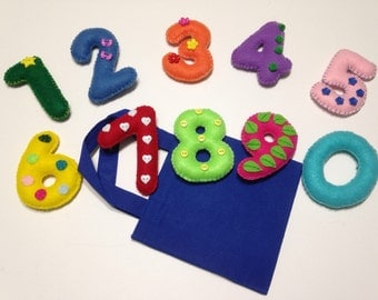 Educational homeschooling felt numbers set