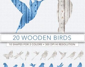 Wooden birds clipart,bird clip art,birds silouette,scrapbook,birds,background,bird decoration,bird image BIRD2