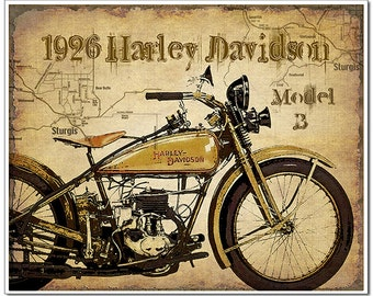 Harley Davidson gift motorcycle art print motorcycle gifts for men Motorcycle Poster map of Sturgis artistically added to background.
