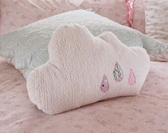 Large Chenille Cloud Pillow with Romantic Aqua Floral