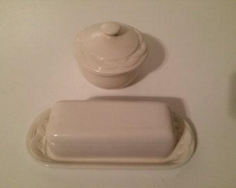 Vintage Pfaltzgraff White Ceramic Butter Dish, Sugar Bowl Set