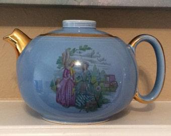 Vintage W S George Porcelain Tea Pot, Mid Century Tea Pot
