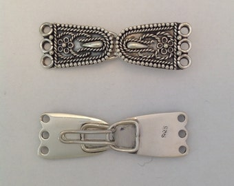 Three Strand Sterling Silver Clasp with wire work
