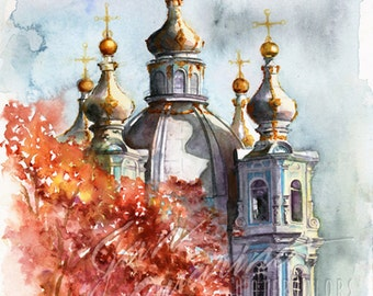 Russian Buidling Watercolor Painting Art
