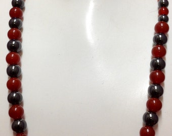 Carnelian & hematite necklace