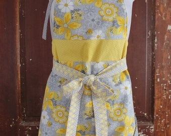 Apron kitchen for women, fabric flowers yellow and grey, fitted at the waist, attaches to the front. Christmas gift wife.
