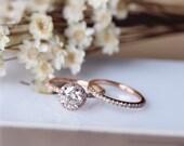 6.5mm Brilliant Moissanite Engagement Ring Set Solid 14K Rose Gold Wedding Ring Set Moissanite Ring Set Anniversary Ring Set