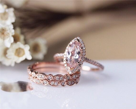 Unique Marquise Morganite Ring Set Solid 14K Rose by JulianStudio