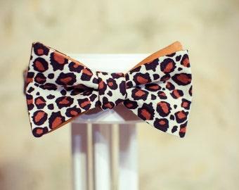 Mens bow tie leopard - cotton, elegant, handmade