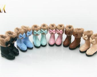Cute fur boots for Blythe Pullip Dal Momoko Obisu Azone Poppy