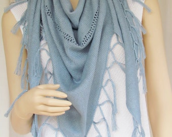 Triangular Linen Scarf with Knotted Tassels