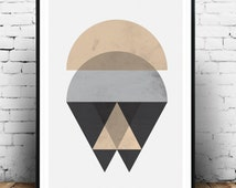 Scandinavian design, geometric abstarct, minimalist print, pink and gray, nordic style, abstract poster, geometric print, watercolor art,