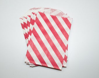Red Stripe Favor Bags - Small Treat Bags - Small Gift Bags - Flat Paper Party Bags - 2.75 x 4