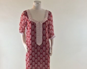 Vintage Red and White Silk Tunic, size Medium