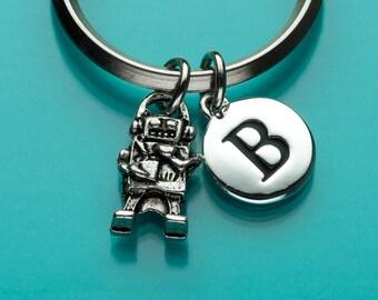 Robot Keychain, Robot Key Ring, Robotics, Initial Keychain, Personalized Keychain, Custom Keychain, Charm Keychain, 302