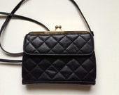 80s Vintage Quilted Black Faux Leather Clutch with Removable Long Shoulder Strap