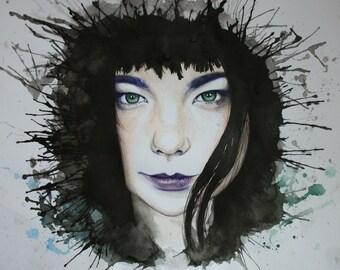 Björk - Portrait - Art print - Watercolor