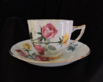 Royal London Bone China - Pink and Yellow Roses Tea Cup and Saucer