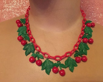Vintage inspired necklace with cherries and leaves in the 40s 50s style