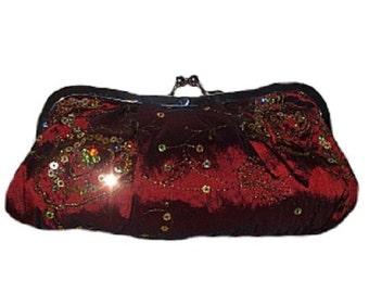 Vintage Burgundy Satin Sequin Evening Bag