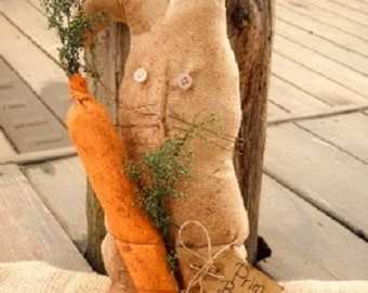 Easter Bunny, Primitive Bunny, Prim Carrot, Prim Decor, Easter Decor