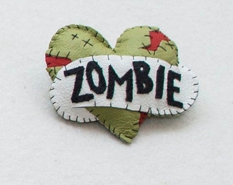 Zombie Love - Hand Stitched Leather Tattoo Inspired  Brooch