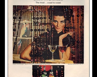"Vintage Print Ad October 1965 : Martini & Rossi Vermouth Wall Art Decor 8.5"" x 11"" Advertisement"