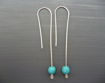 Long Turquoise Earrings Sterling Silver Jewelry Threader Earrings Turquoise Jewelry