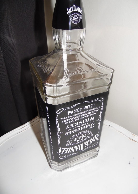 items similar to large jack daniels bottle lamp on etsy. Black Bedroom Furniture Sets. Home Design Ideas