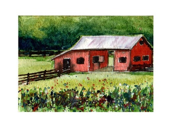 Red Cow Barn by LLMARTIN Original ACEO Watercolor ARTWORK