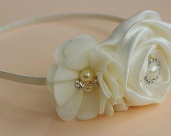 Ivory Flower girl headband flower girl ivory wedding headband metal satin headband toddler hard headband flower girl outfit girls headband