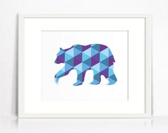 Geometric art Bear silhouette. Bear wall art printable. Bear home decor. Light blue art print. Geometric animal wall art. Artwork print