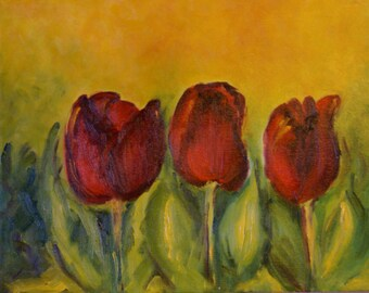 Original Oil Painting,Tulips in Red,