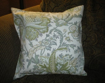 Handmade green floral  envelope style pillow cover; pillow sham; throw pillow and accent pillow.