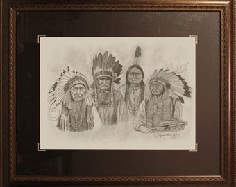 Founding Fathers - Original - Realistic Pencil Drawing, Native American History