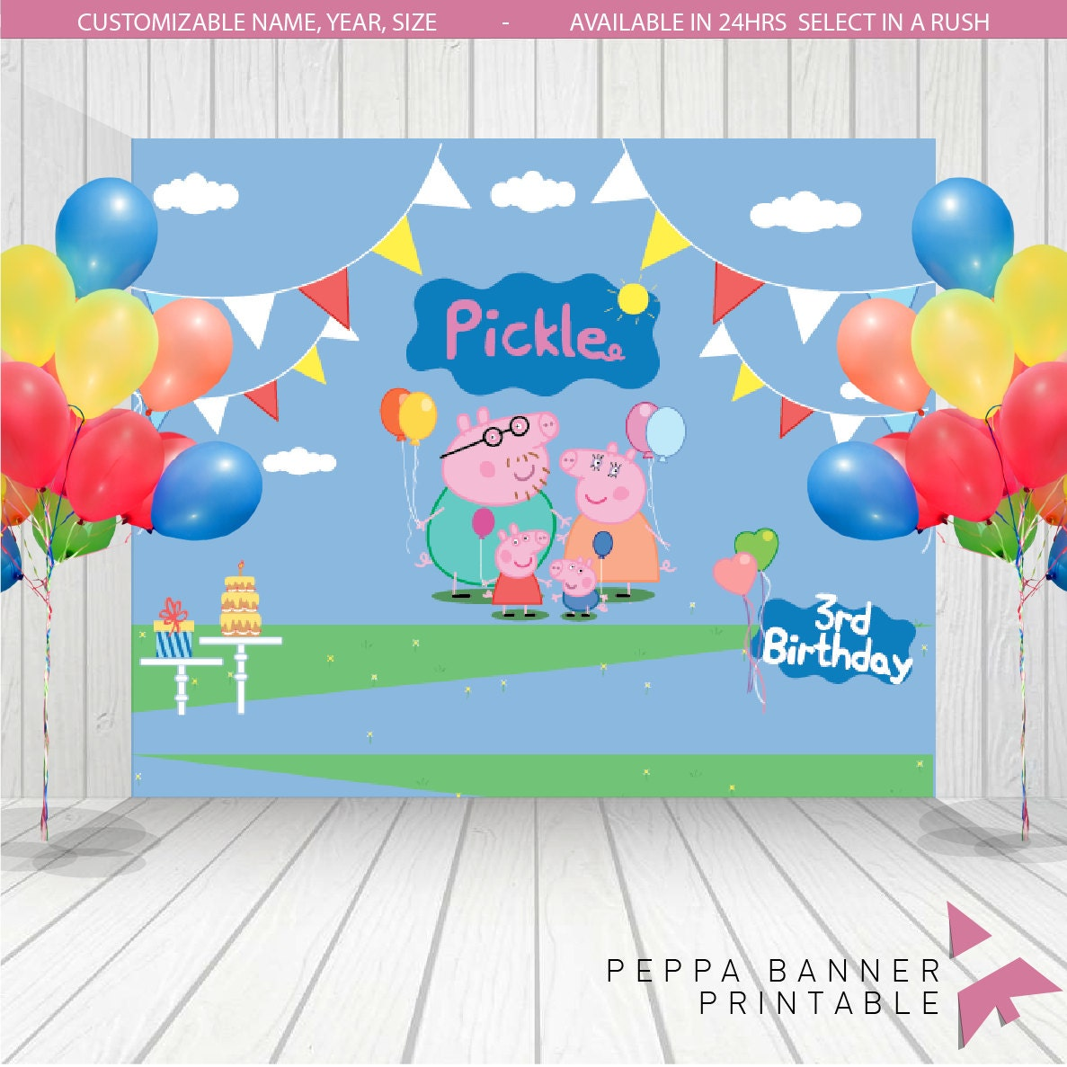 Peppa Pig Backdrop Peppa Pig Birthday Banner