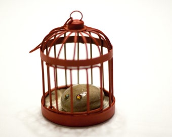 Pet Rock in a Red Cage