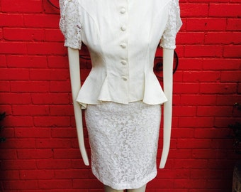 80s does 40s vintage cream dress