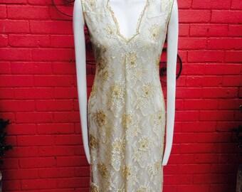 Vintage gold lace dress