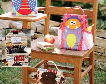 Kwik Sew sewing pattern K3925 Monkey, Monster & Me Lunch Bags, Novelty Lunch Bags, Very Cute! - new and uncut