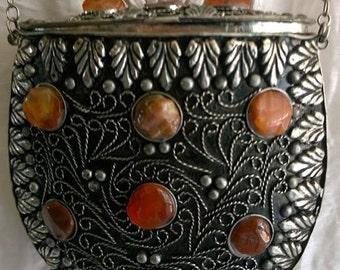 Vintage Silver Metal Scroll Work Bag & Earth Tone Agate Stones/Amazing Metal Agate Stones India Purse Bag/ Beautiful Little India Purse Bag