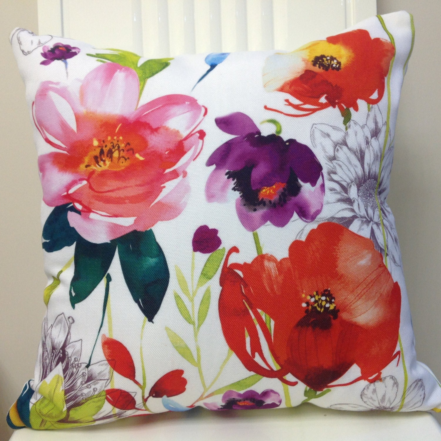Decorative Pillows Flowers : PILLOWS, PILLOW COVERS, WATERCOLOR FLORAL PILLOW COVER, DECORATIVE THROW PILLOWS, THROW PILLOWS ...