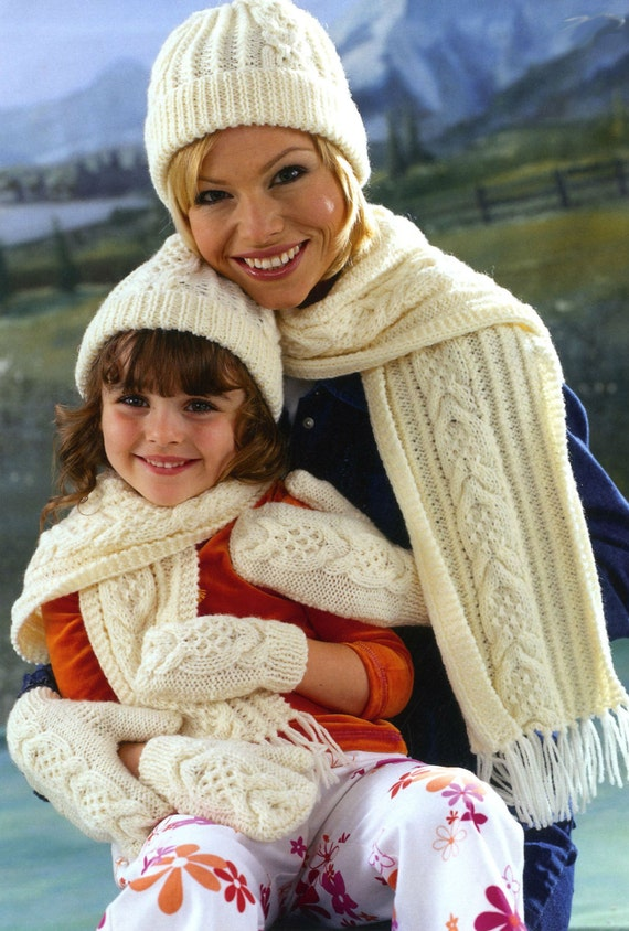 Knitting Pattern Child Hat And Scarf : Vintage Knitting Pattern Mother and Child Hat Scarf and Mitt