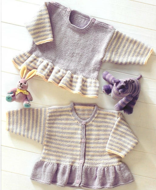 Knitting Patterns For V Neck Sweaters : Knit Baby Cardigan and Sweater Vintage Pattern toddler v-neck
