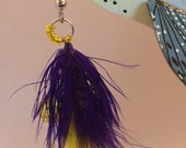 Fishing Fly Dangle Earrings Montana Handmade Yellow Bead Purple Feather Trout Jewelry