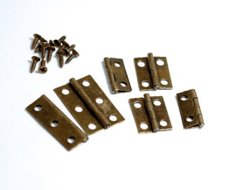 3 pack (6pcs) of Mini Antique Gold hinges / embellishments - Great for little boxes/keepsake books or for steampunk projects & mixed media